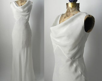 Vintage 1930s Style Gown, Art Deco Style Gown, 1930s Silk Dress, Vintage Wedding Gown, 30s Style Wedding Dress, Retro 30s Bridal Gown, Silk
