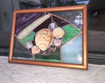 One of A Kind  Nautical Sea Shells Stained Glass Window Panel/ Framed Sun Catcher
