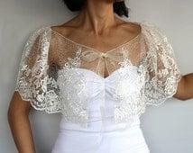 Sheer Bridal Capelet, Cream Tulle Bolero Cape, Lace Embroidered Summer Wedding Shrug Dress Cover-up Romantic Fairytale Wear Fashion