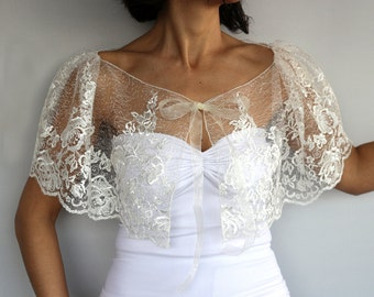 Sheer Bridal Capelet, Cream Tulle Bolero Cape, Lace Embroidered Summer Wedding Shrug Dress Cover-up Romantic Fairytale Wear Fashion