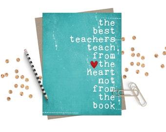Best Teacher Greeting Card Teacher Thank You Card - The Best Teachers Original Greeting Card in distressed Teal Blue - Graduation School