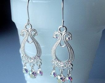 25% Off SALE thru Mon Swarovski Clear AB Crystal Drop Earrings, Christmas Gift, Mom Sister Grandmother Wedding Bridesmaid Jewelry