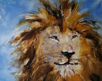 "lion, animal art, safari, nature Art, african animals. It's Good To Be The King. Original watercolor painting (12"" x 12"")."