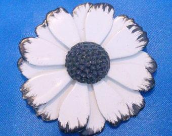 Vintage White and Black Enamel Flower Brooch