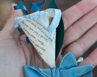READY TO SHIP - Harry Potter Book Page Paper Rose pin/boutonniere