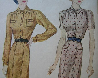 Fabulous Vintage 30's SHIRTMAKER DRESS Misses Dress Pattern Factory Folded