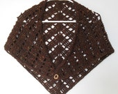 Shawl Wrap in Chesnut Brown Wool light-weight Crochet to accessorize your outfit