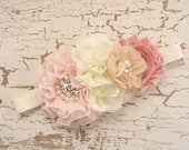 Blush Flower Girl Headband, Corsage, Hair Clip, Matching to Flower Girl Basket Set Hand Dyed Blush flowers  Other colors too