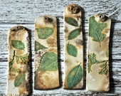 Incense Stick Holder - Ceramic Rustic, Green and Beige Leaf Cedar/Oak/Aspen Impressions - Home Decor