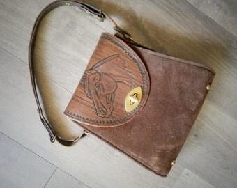 1960s Western Handbag Brown Leather Suede Horse Embellished Equestrian Joo Kay Womens Vintage Purse