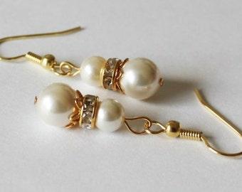 Gold pearl earrings, Bridesmaid pearl earrings, Flower girl earrings, pearl and rhinestone earring, gold wedding