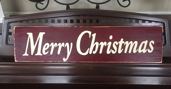 SIGN Merry Christmas Plaque Happy Holidays Rustic Cottage Farmhouse Chic Hand Painted Wooden You Pick from 10+ Colors