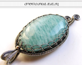 Amazonite , sterling silver , wire wrapped pendant