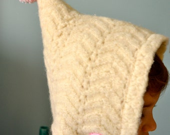 18mons-3T Winter White Pixie Toddler Baby Hat Upcycled Felted Wool Cupcake flannel lined READY TO GO