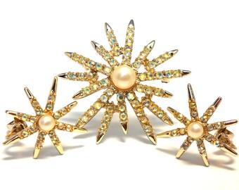 Vintage Emmons Aurora Borealis  and Pearl Starburst Brooch and Earrings