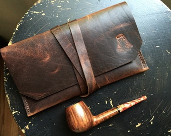Tobacco Pipe Pouch * Bison Leather * Rustic Pipe Pouch * Utility Pouch * The Gent * Sorringowl & Sons * Pipe Pouch * Pipe Roll Tobacco Pouch