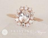 White Sapphire Engagement Ring Rose Gold Diamond Halo Gemstone Engagement Ring Weddings Anniversary