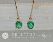 Emerald 14k Yellow Gold Bezel Set Dangle Earrings Fine Gemstone Jewelry May Birthstone