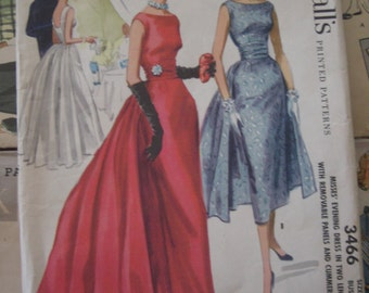 Vintage Sewing Pattern 1955 Formal Fancy Dress Gown