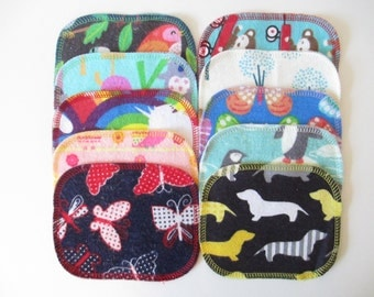 Reusable Cloth Wipes--Mini Size--Makeup Removal--Set of 10--Animal Mix--Ready to Ship