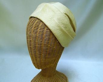 Vintage Ladies Hat Henri Bendel Ivory Fabric Toque Pleated