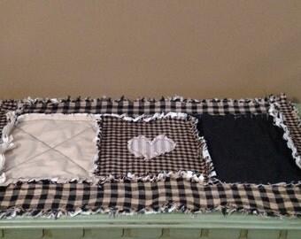 Handmade Rag Quilt Candle Mat Small Table Runner 20 X 12 Black and tan homespun Tan & Black Cotton heart applique Ship ready 2ship
