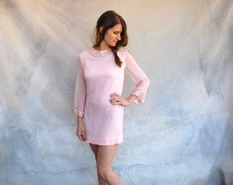 1960s mod pink chiffon mini cocktail dress - 60s Twiggy shift style short dress - small