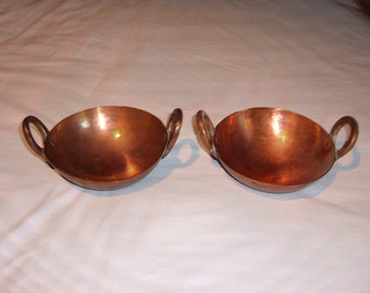 2  Vintage Matching Small Copper Decorative Bowls with Handles-Hand Wrought