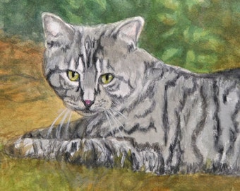 Tabby Cat Print, Tiger Striped Tabby, Tabby Cat Art, Tabby Cat Watercolor, Tiger Cat Portrait by P. Tarlow