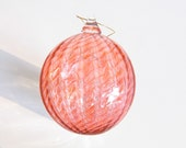 Glass Ball Christmas Ornament Suncatcher, Holiday Decor, Tree Decorations, Pale Peach