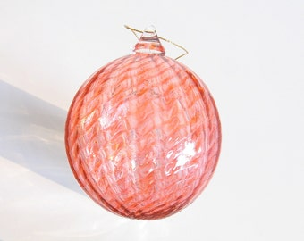 Glass Ball Christmas Ornament Suncatcher, Holiday Decor, Tree Decorations, Pale Peach
