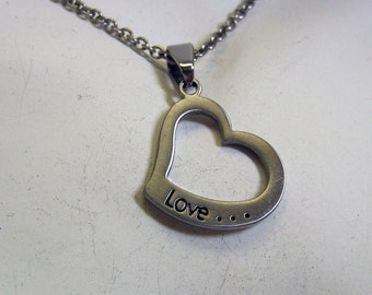 Pewter Love Necklace, 18 Inch Chain