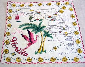 Vintage Florida Handkerchief,  Souvenir
