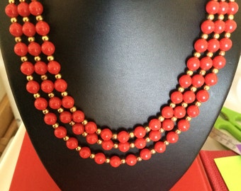 Reinad Red and Gold Triple Strand Vintage Bead Necklace
