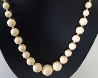 RESERVED Off White Bone Colored Light Weight Graduated Bead Necklace
