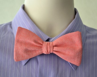 Freestyle Bowtie in Coral Pink Linen, Reddish Pink Linen, Mens Self Tie Bow Tie, Pink Bow Tie, Groomsmen Bow ties, Wedding Bowties