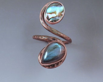 Labradorite and Abalone- Smoky Copper Swirl -Boho Chic- Gypsy- Adjustable Statement Ring