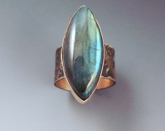 Labradorite Marquise- Smoky Bronze Patina- One of a Kind- Metal Art RedPaw Ring
