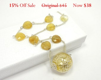Gold and Silver Globe Necklace, Gold Flecked Glass Globe Filled with Silver Beads on Silver Chain with Faceted Citrine Beads - 15% OFF SALE