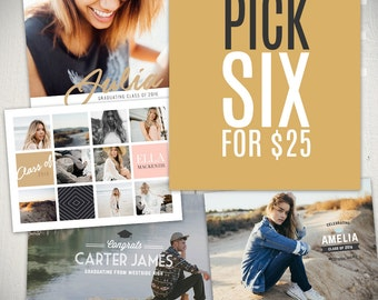 Graduation Card Templates Bundle - Senior Announcement Templates - Pick 6 Cards of Your Choice