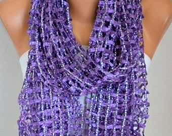 Purple Ribbon & Metallic Scarf, Summer Shawl,Wedding Scarf Bridal Scarf, Bridesmaid Gift Gift Ideas for Her,Women Fashion Accessories