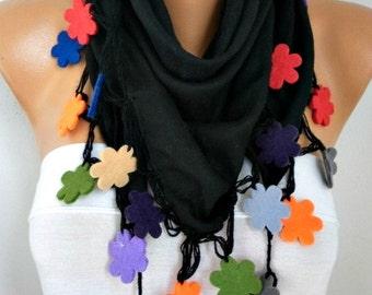 Black Pashmina Scarf,Fall Winter Scarf,Wedding Scarf, Bohemian,Cowl Scarf Felt Flower Gift Ideas Women's Fashıon Accessories   -