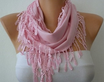 Pink Pashmina Scarf Winter Accessories Christmas Gift Cowl Scarf Shawl Gift Ideas For Her Women's Fahion Accessories