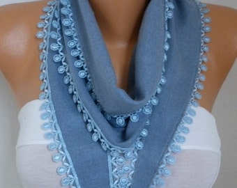 Capri Blue Pashmina Scarf, Summer Scarf,Cowl,Necklace,Bridesmaid Gift,Gift Ideas For Her,Women Fashion Accessories,Teacher Gift