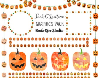 Jack O' Lantern Clip Art, Digital Download, Halloween Clipart, Commercial Use