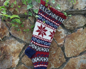 Personalized Christmas Stocking with Poinsettia Knit Fair Isle Handknit Modern Holiday Santa Sock - Custom made to order