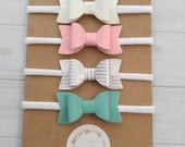 You Pick -  Mini Chunky Glitter and Faux Leather Bow Headbands- Iridescent White, Bubblegum Pink, Silver Stripe and Mint - Nylon Headbands