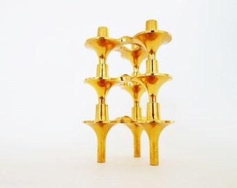 3 Vintage Golden Stackable Atomic Age Candle Holder Cesar Stoffi for Nagel