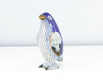 Vintage Cloisonné Penguin Figurine Blue Enamel
