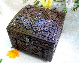 Jewelry box Jewelry box wood Wooden jewelry box Wooden box Ring box Wedding jewelry box Jewelry wooden box Jewellery box Wood carving B14